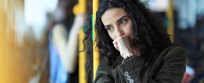women with anxiety on train