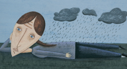 depressed woman under stormclouds