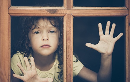 abandoned girl at the window