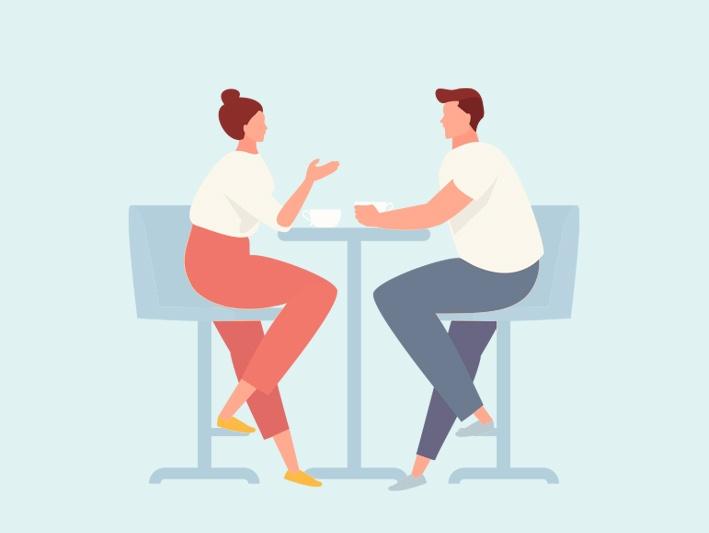 2 people are having conversation